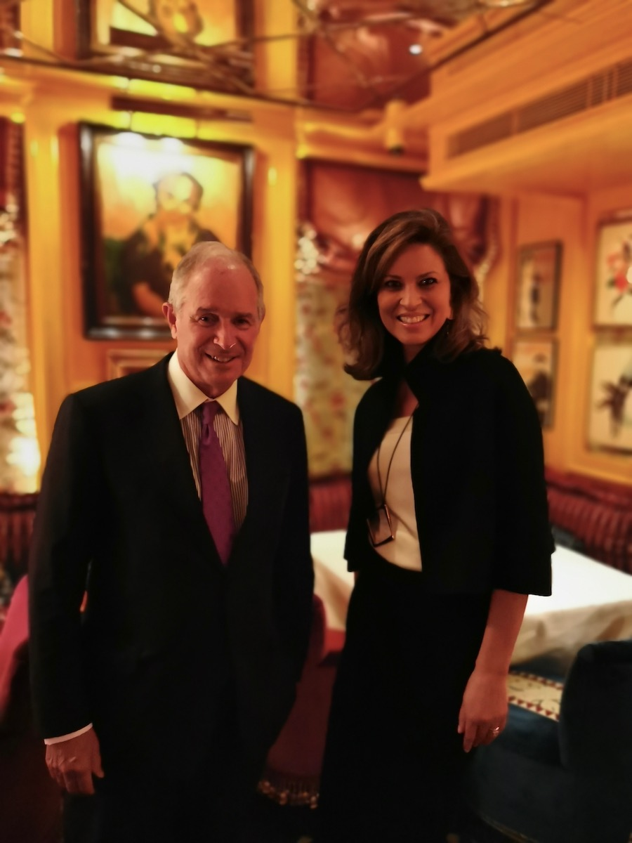 Stephen Schwarzman during the interview with Elena Cué
