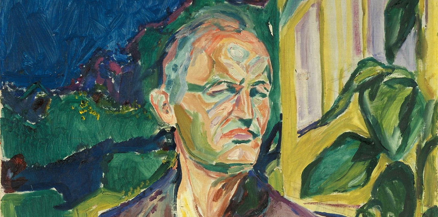 Munch Self-portrait in Front of the House Wall 1926 cropped. Edvard Munch.