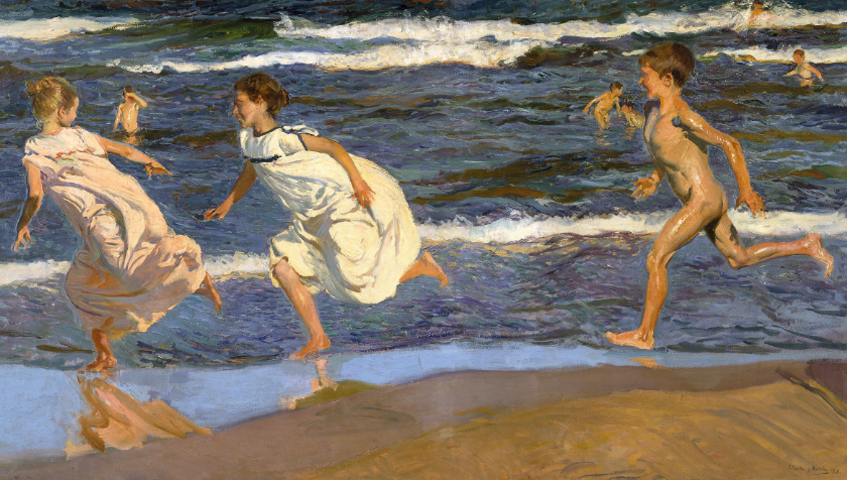 Sorolla: Corriendo por la playa, 1908.