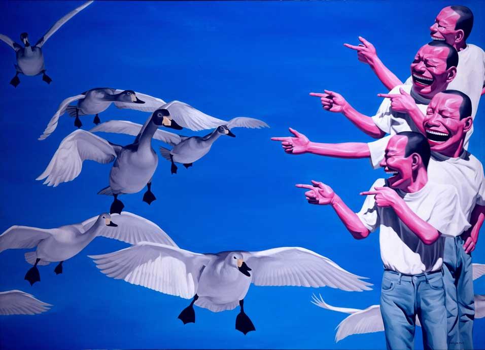yue-minjun-big-swans