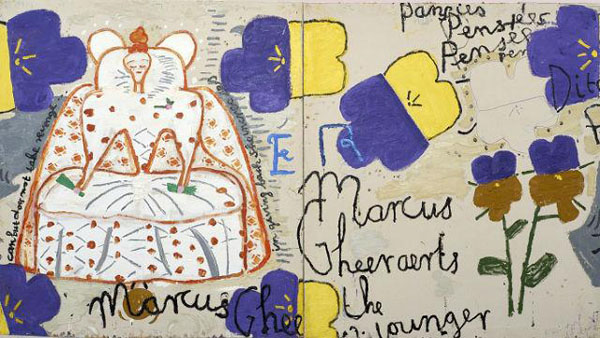 rose-wylie-quack-quack-at-serpentine-sackler-gallery rose-wylie-queen-with-pansies-dots-2016-rose-wylie-courtesy-the-artist-and-david-zwirner-london-photograph-soon-hak-kwon 42687895abb6c3df893d6cc0e743ffb7