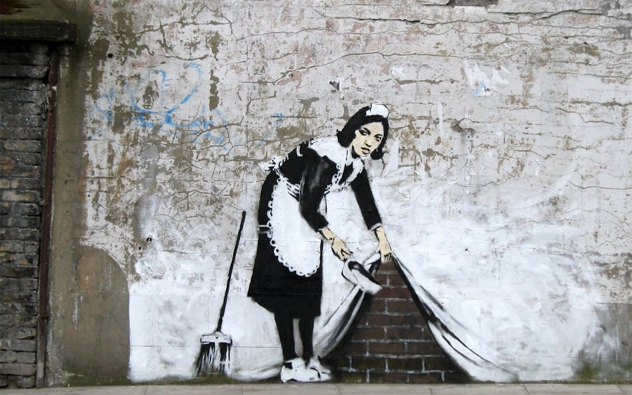 barrelo debajo del muro por Banksy