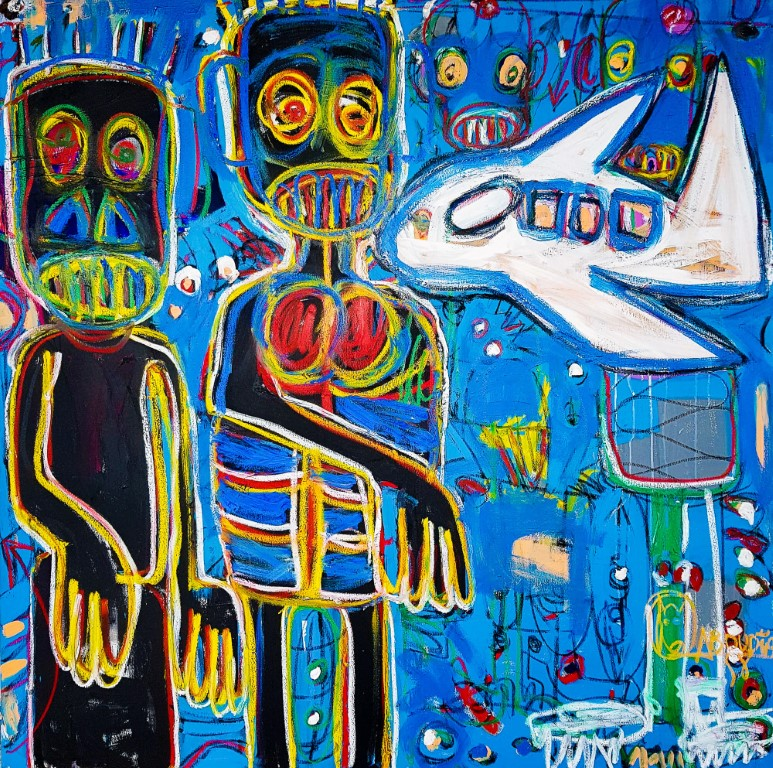 artsy Aboudia Laventurier II 2018 150x150cm Acrylic and pastels on canvas 1811 Medium 1