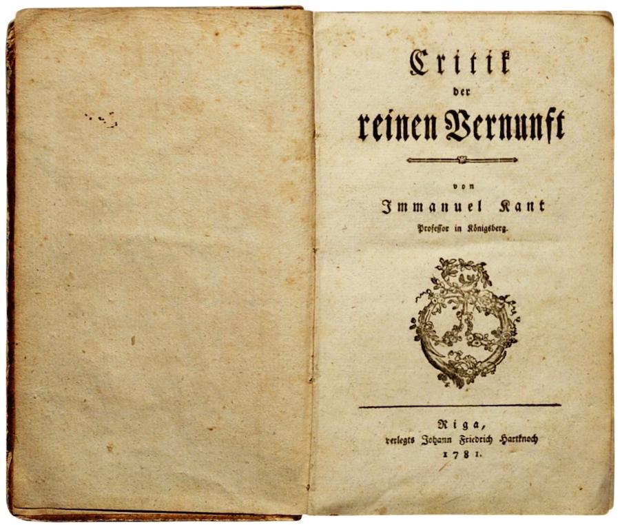 Kant Kritik der reinen Venunft 1781