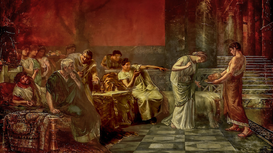 Francisco Maura y Montaner pinto en 1888 la escena en la que Fulvia la esposa de Marco Antonio y