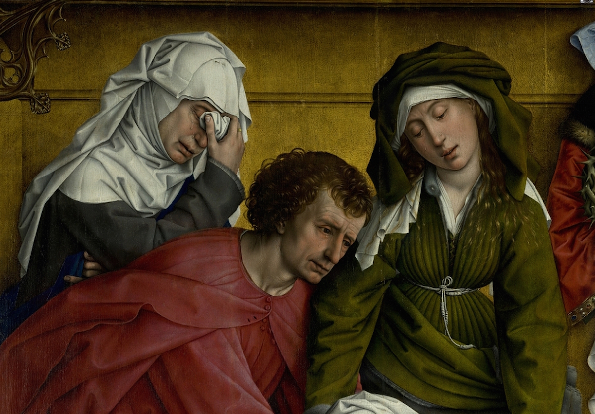 Weyden Rogier van der - Descent from the Cross - Detail Mary of Clopas Saint John the Evangelist and Mary Salome